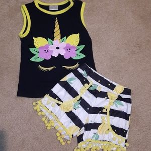 Unicorn Lemon Short set